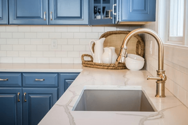 Cabinet Painters - 365 Renovations - West Chester Township, OH - Blue cabinets white tile white countertop
