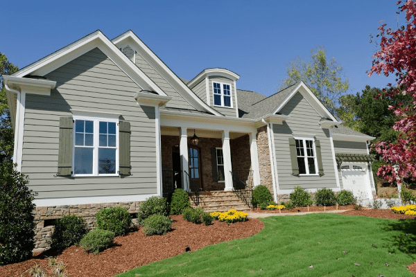 Exterior Painting - West Chester Twp Ohio - Gray with Olive Green Shutters - 365 Renovations 600x400