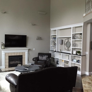Home Interior Painting – 365 Renovations – Loveland, OH – Gray Clay High Ceiling Family Room White Trim 800