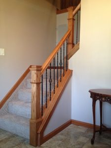 Interior House Painting – 365 Renovations – Montgomery, OH – Oak Railing with Wrought Iron Spindles 800