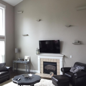 Interior Painters – 365 Renovations – Loveland, OH – Gray Walls Floating Shelves Vaulted Ceiling 800