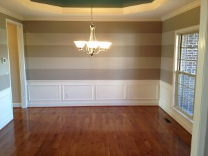 Interior Painters – 365 Renovations – Montgomery, OH – Dining Room Crown Molding Horizontal Striped Walls 800