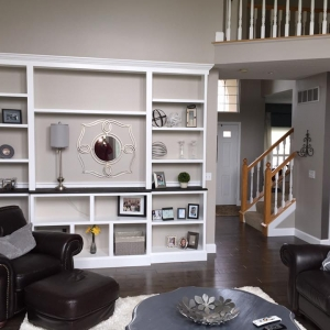 Interior Painting – 365 Renovations – Loveland, OH – Large Family Room Gray Clay Walls White Bookcase Shelves 800