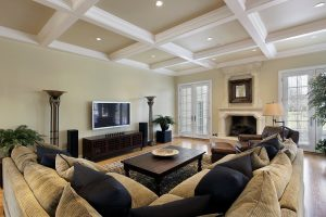 Interior Painting – 365 Renovations – West Chester Township, OH – Coffered Ceiling White Tan Walls Family Room 800