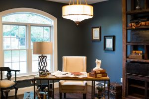 Interior Painting Colors – 365 Renovations – Mason, OH – Home Office Dark Blue Walls White Trim Large Window 800