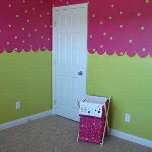 Interior Wall Paint – 365 Renovations – West Chester Township, OH – Baby room pink and green