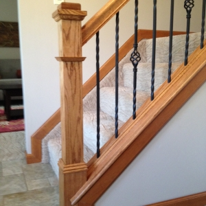 Painting Contractor – 365 Renovations – Montgomery, OH – Light Oak Stair Rail Wrought Iron Spindles 800