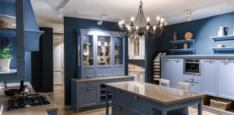 Kitchen Color Ideas - Blue Walls White Cabinets - 365 Renovations