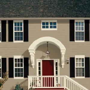 Tan House White Trim Black Door Red Shutters 400