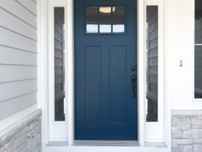 Gray House White Trim Blue Front Door - Exterior Painting - West Chester OH 400