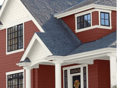 Red House with White Trim and Black Front Door - Exterior Painting Color Schemes - West Chester OH 400